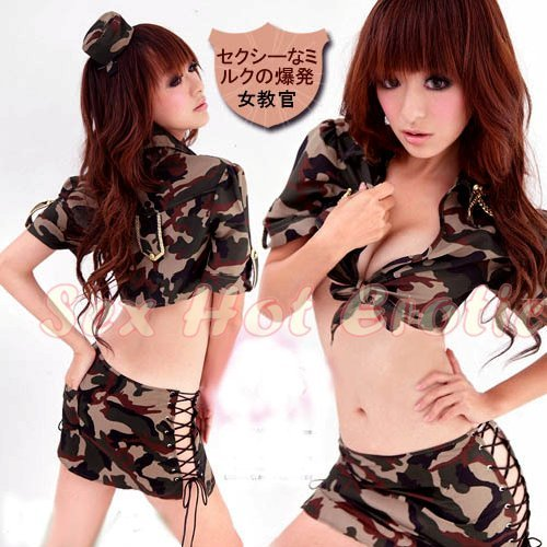 Camouflage Costume Cosplay coat police officer Lingerie Hot Sexy Cute women badydoll CC08