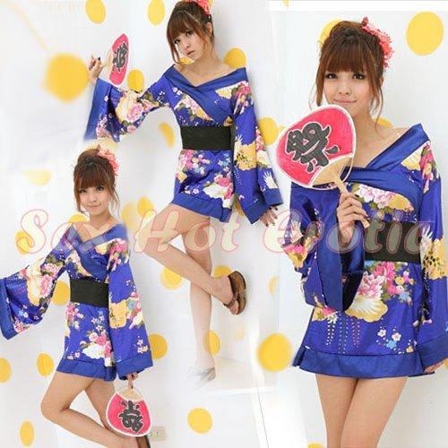 Hot & Sexy Lace Japanese Kimono Lingerie Costume Sleep Dress KM#03