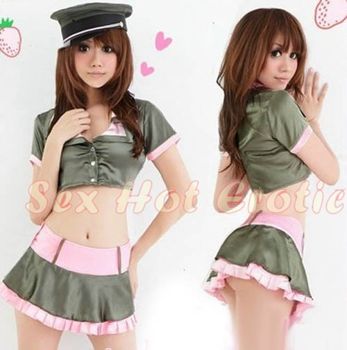 Camouflage Costume Cosplay coat police officer Lingerie Hot Sexy Cute women badydoll CC11
