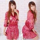 Hot & Sexy Lace Japanese Kimono Lingerie Costume Sleep Dress KM#05