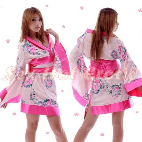 Hot & Sexy Lace Japanese Kimono Lingerie Costume Sleep Dress KM#06