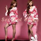 Hot & Sexy Lace Japanese Kimono Lingerie Costume Sleep Dress KM#12
