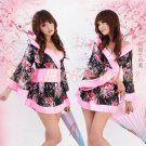 Hot & Sexy Lace Japanese Kimono Lingerie Costume Sleep Dress KM#15