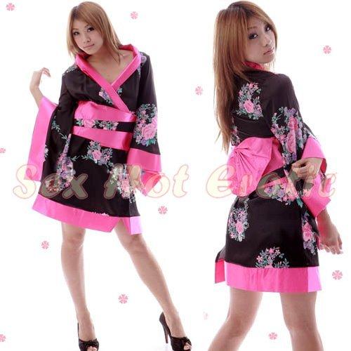 Hot & Sexy Lace Japanese Kimono Lingerie Costume Sleep Dress KM#19
