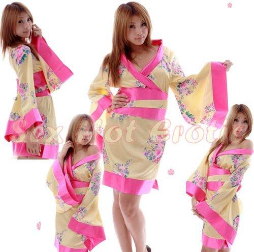 Hot & Sexy Lace Japanese Kimono Lingerie Costume Sleep Dress KM#20