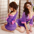 Hot & Sexy Lace Japanese Kimono Lingerie Costume Sleep Dress KM#21