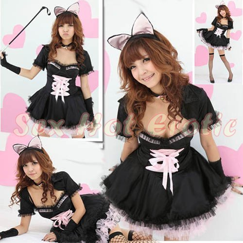 Sexy & Cute Costume Kitty Cat Lingerie Hot Puss Cat Cosplay Dress with Ears CC# 05