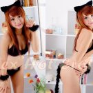 Sexy & Cute Costume Kitty Cat Lingerie Hot Puss Cat Cosplay Dress with Ears Trail CC# 07