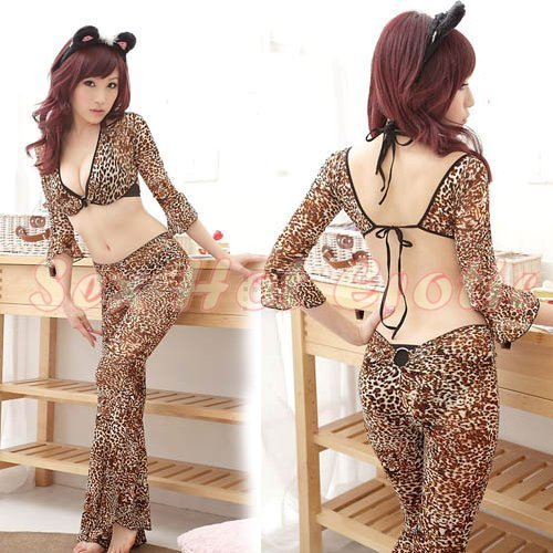 Sexy & Cute Costume Kitty Cat Lingerie Hot Puss Cat Cosplay Dress with Ears CC# 08