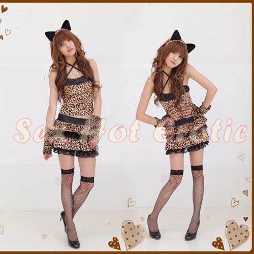 Sexy & Cute Costume Kitty Cat Lingerie Hot Puss Cat Cosplay Dress with Ears CC# 10