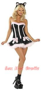 Sexy & Cute Costume Kitty Cat Lingerie Hot Puss Cat Cosplay Dress with Ears CC# 14