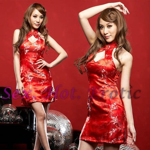 Chinese Cheongsam Red Costume Cosplay coat Lingerie Hot Sexy Cute women badydoll CS01