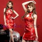 Chinese Cheongsam Red Costume Cosplay coat Lingerie Hot Sexy Cute women badydoll CS01