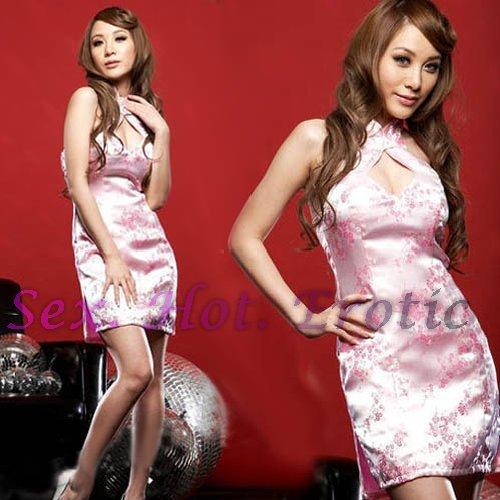 Chinese Cheongsam Pink Costume Cosplay coat Lingerie Hot Sexy Cute women badydoll CS02