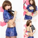 Chinese Cheongsam Costume Cosplay coat Lingerie Hot Sexy Cute women badydoll CS03B Blue