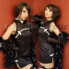 Chinese Cheongsam Costume Cosplay coat Lingerie Hot Sexy Cute women badydoll CS04A Black