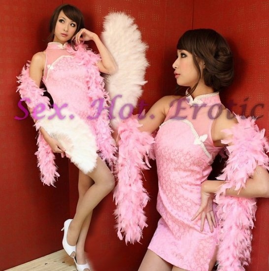 Chinese Cheongsam Costume Cosplay coat Lingerie Hot Sexy Cute women badydoll CS04B Pink