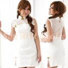 Chinese Cheongsam Costume Cosplay coat Lingerie Hot Sexy Cute women badydoll CS05 White