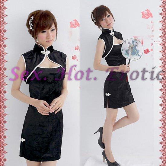 Chinese Cheongsam Costume Cosplay coat Lingerie Hot Sexy Cute women badydoll CS06 Black