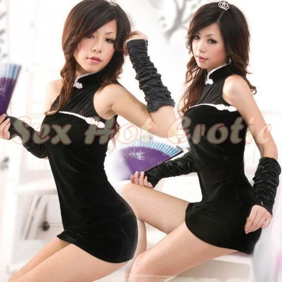 Chinese Cheongsam Costume Cosplay coat Lingerie Hot Sexy Cute women badydoll CS07 Black