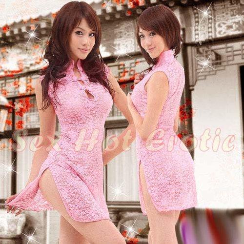 Chinese Cheongsam Costume Cosplay coat Lingerie Hot Sexy Cute women badydoll CS09