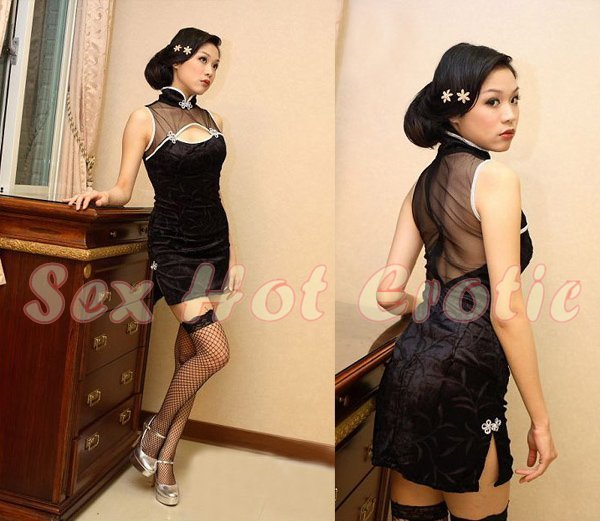 Chinese Cheongsam Costume Cosplay coat Lingerie Hot Sexy Cute women badydoll CS10