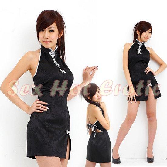 Chinese Cheongsam Costume Cosplay coat Lingerie Hot Sexy Cute women badydoll CS11