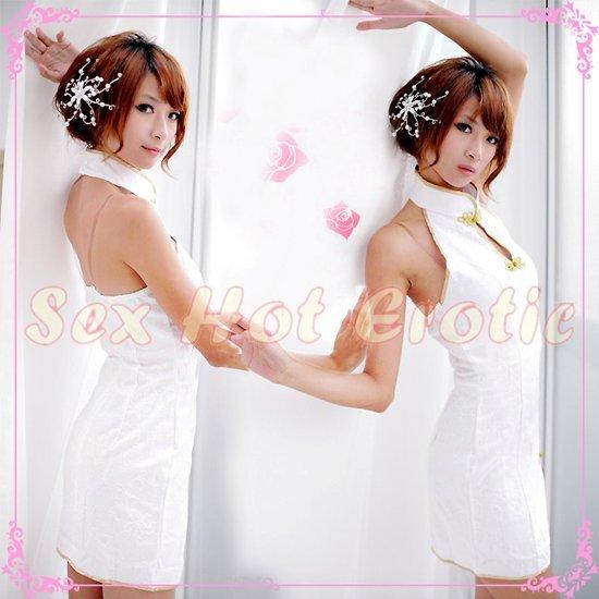 Chinese Cheongsam Costume Cosplay coat Lingerie Hot Sexy Cute women badydoll CS12