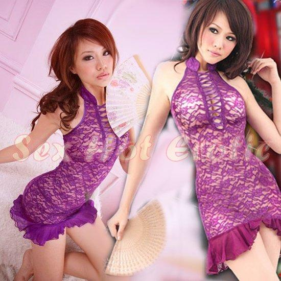 Chinese Cheongsam Costume Cosplay coat Lingerie Hot Sexy Cute women badydoll CS13