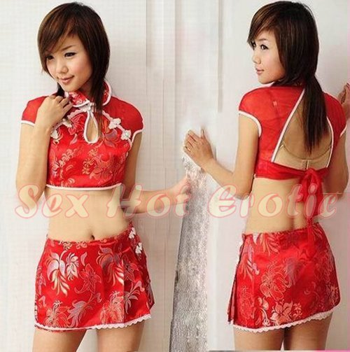Chinese Cheongsam Costume Cosplay coat Lingerie Hot Sexy Cute women badydoll CS15
