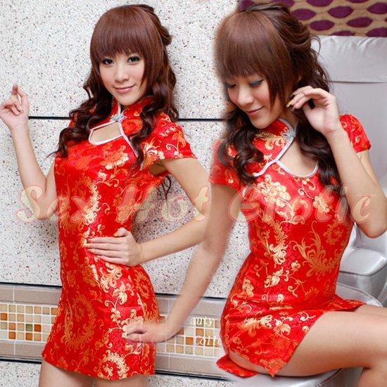 Chinese Cheongsam Costume Cosplay coat Lingerie Hot Sexy Cute women badydoll CS17A Red