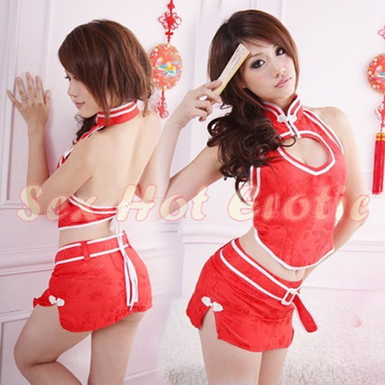 Chinese Cheongsam Costume Cosplay coat Lingerie Hot Sexy Cute women badydoll CS21