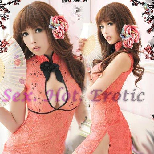 Chinese Cheongsam Costume Cosplay coat Lingerie Hot Sexy Cute women badydoll CS22