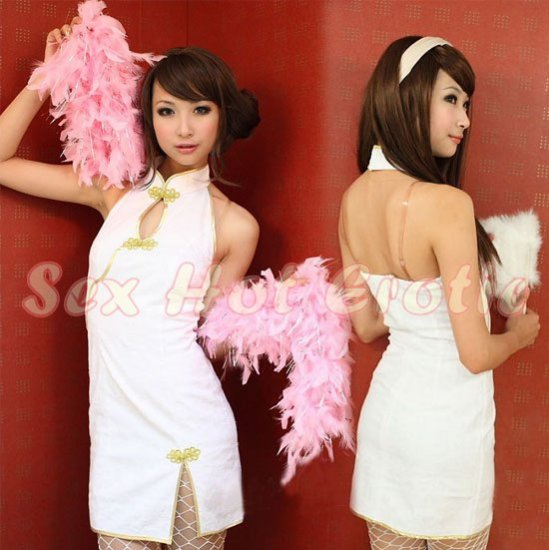 Chinese Cheongsam Costume Cosplay coat Lingerie Hot Sexy Cute women badydoll CS25