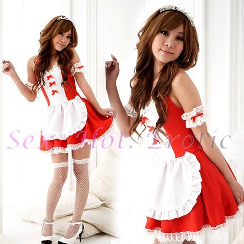 French Maid Costume Cosplay Japanese coat Lingerie Hot Sexy Cute women badydoll MC13