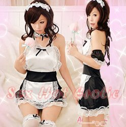 French Maid Costume Cosplay Japanese coat Lingerie Hot Sexy Cute women badydoll MC15