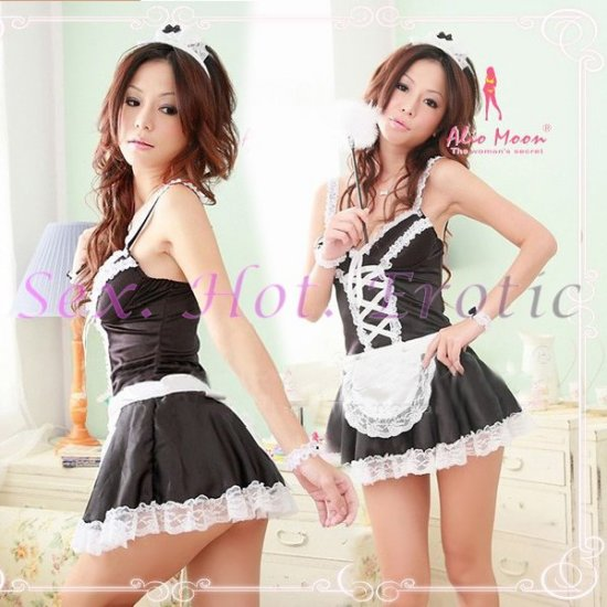 French Maid Costume Cosplay Japanese coat Lingerie Hot Sexy Cute women badydoll MC17B Black