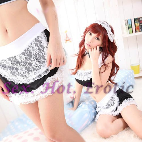 French Maid Costume Cosplay Japanese coat Lingerie Hot Sexy Cute women badydoll MC33