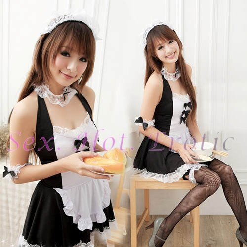French Maid Costume Cosplay Japanese coat Lingerie Hot Sexy Cute women badydoll MC41