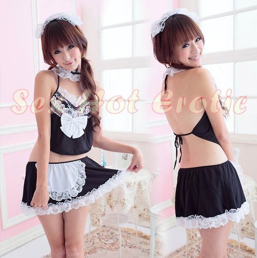 French Maid Costume Cosplay Japanese coat Lingerie Hot Sexy Cute women badydoll MC46