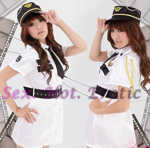 New SEXY & HOT Police Cosplay Dress Navy GIRL Costume Lingerie PO# 02