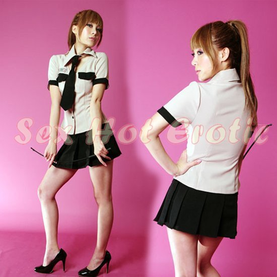 New SEXY & HOT Police Cosplay Dress Navy GIRL Costume Lingerie PO# 06
