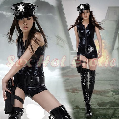 New SEXY & HOT Police Cosplay Dress Navy GIRL Costume Lingerie PO# 10