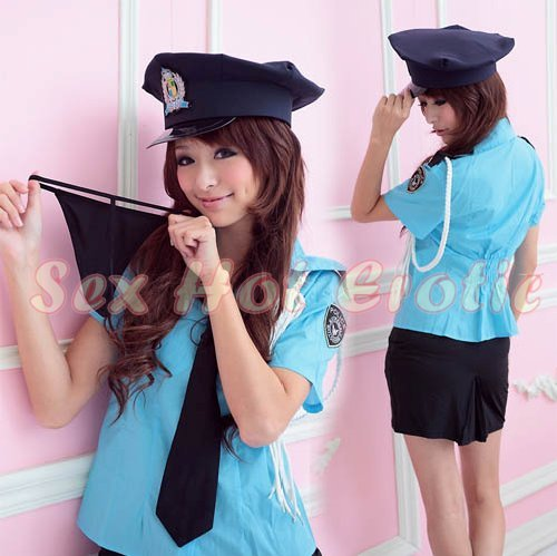 New SEXY & HOT Police Cosplay Dress Navy GIRL Costume Lingerie PO# 20