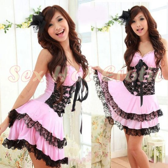 Princess Lolita Cake dress Costume Cosplay Japanese Hot Sexy Cute women badydoll PI01A Pink