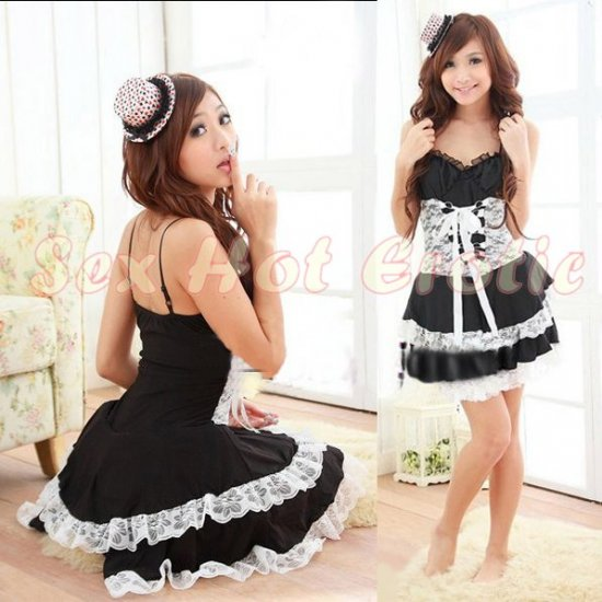 Princess Lolita Cake dress Costume Cosplay Japanese Hot Sexy Cute women badydoll PI01D Black