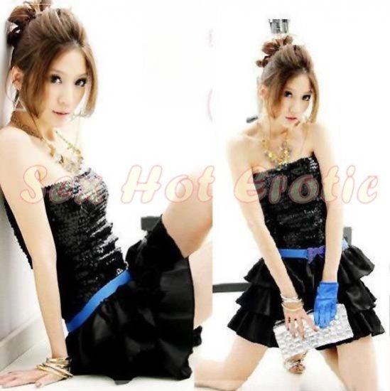Clubbing Evening Stage Dancer Dress Sexy Lingerie Hot Cute women dress badydoll CD01A Black