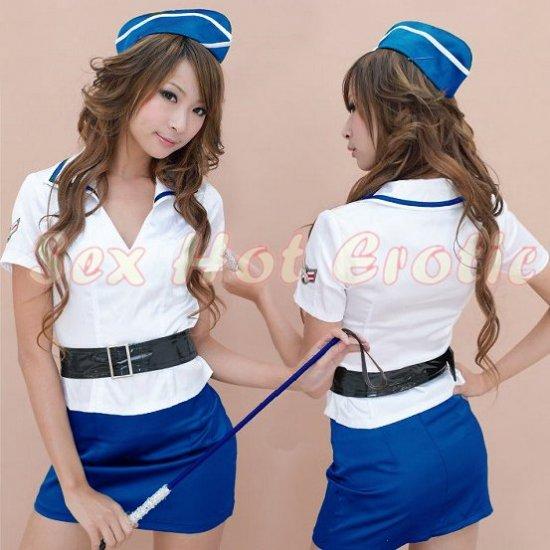 New SEXY & HOT Flight Attendant Stewardess Girl Cosplay Dress Cute women Costume Lingerie FA# 08