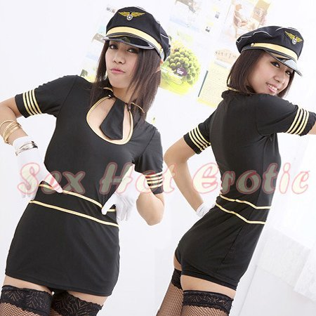 New SEXY & HOT Flight Attendant Stewardess Girl Cosplay Dress Cute women Costume Lingerie FA# 10