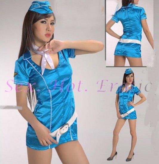 New SEXY & HOT Flight Attendant Stewardess Girl Cosplay Dress Cute women Costume Lingerie FA# 11
